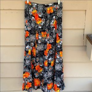 Vintage Floral Maxi Skirt Gypsy Hippie Boho 12